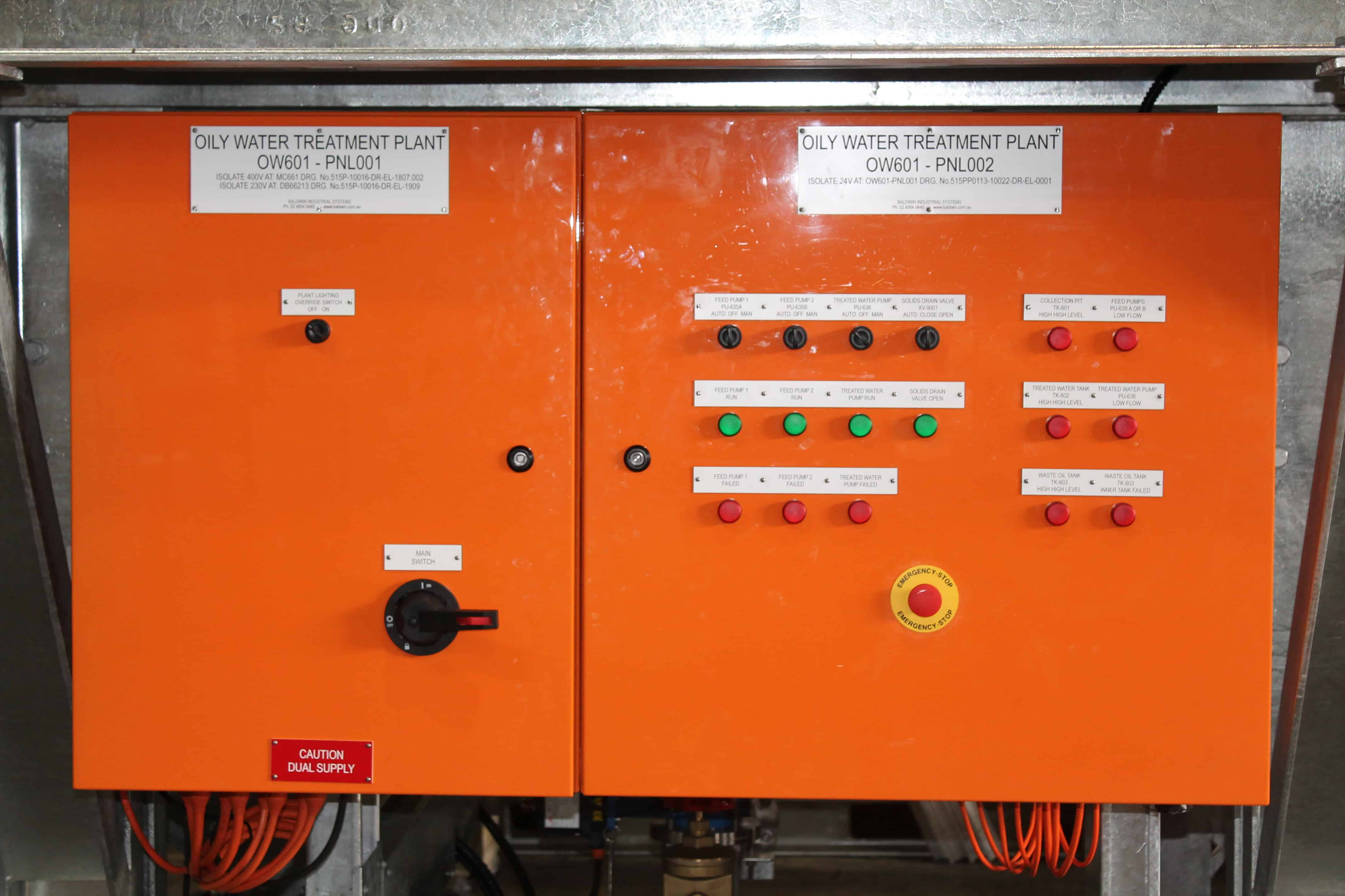 Stand mounted control panel for wastewater treatment